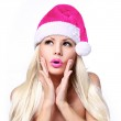 Christmas Woman. Glamour Surprised Blonde Girl in Hot Pink Santa — Stock Photo