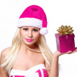 Christmas Woman with Gift Box. Beautiful Blonde Girl in Hot Pink — Stock Photo