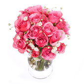 Bouquet of Pink Roses in vase isolated on white background — Stock Photo