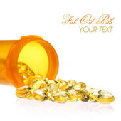 Fish Oil Capsules with Pills Bottle isolated on white. Omega-3 — Stock Photo