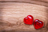 Valentines Day background. Hearts on Wooden Texture — Stock Photo