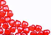 κόκκινες καρδιές που απομονώνονται σε λευκό φόντο με χώρο για το κείμενο. — Φωτογραφία Αρχείου