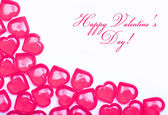 Valentines Day Card. Hot Pink Hearts isolated on white — Stock Photo