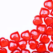 Red Hearts isolated on white background with space for the text. — Stock Photo