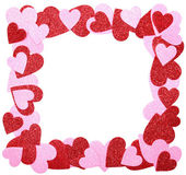 Valentine's Day Frame. Red and Pink Glitter Hearts isolated — Stock Photo