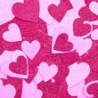 Foto Stock: Glitter Hot Pink Hearts. Background. Valentines Day