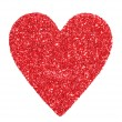 Stock Photo: Glitter Red Heart isolated on white. Valentines Day. Macro.