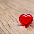 Valentines Day. Red Heart on Wooden background. Macro — Foto Stock