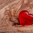 Valentines Day. Red Heart on Wooden background. Macro — Stok fotoğraf