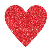 Glitter Red Heart isolated on white. Valentines Day. Macro. — Stock Photo