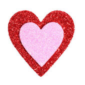 Valentines Day. Glitter Red and Pink Hearts isolated on white. — Stockfoto