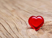Valentines Day. Red Heart on Wooden background. Macro — Stock Photo