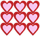 Glitter Red and Pink Hearts isolated. Background. Valentines Day — Stock Photo