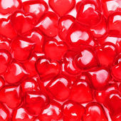 Valentines Day Background. Glass Red Hearts — Stock fotografie