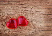 Love. Red Hearts on Wooden background. Valentines Day. Macro — Stock Photo