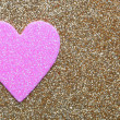 Pink Heart over Gold Glitter background. Valentines Day Card. — Stock Photo #38629807