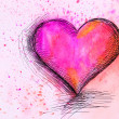 Watercolor Heart. Valentines Day background — Stock Photo #38629841