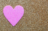 Pink Heart over Gold Glitter background. Valentines Day Card. — Stock Photo