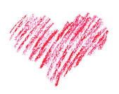 Hand drawn, crayon heart shape isolated on white background — Stock Photo