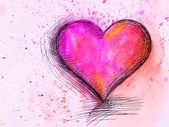 Watercolor Heart. Valentines Day background — Stock Photo