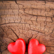 Hearts on Wooden Texture. Valentines Day background. Macro. — Stock Photo