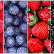 Berries Background Collection. Raspberry, Blueberry, Blackberry — Stock Photo