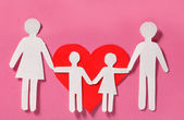 Paper Family and Red Heart over pink background. Love, Kids — Stock Photo