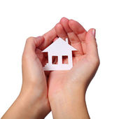 Paper House in Female Hands isolated on White Background — Stock Photo