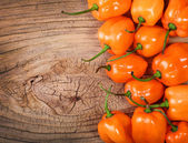 Extremely Hot Habanero Peppers on wooden background — Stock Photo