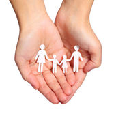 Paper Family in Hands isolated on white background. Family — Stock Photo