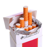Pack of Cigarettes isolated on white — Stockfoto