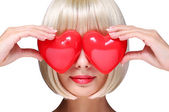 Fashion Blonde Girl with Red Hearts in Valentines Day. Glamorous — Stock Photo