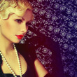 Retro Woman. Portrait of Fashion Beautiful Blonde. Vintage style — Stock Photo