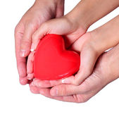 Valentine Heart in Female and Male Hands, isolated on white — Stock Photo