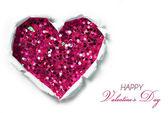 Cartão de dia dos namorados. buraco de papel rasgado em forma de coração — Foto Stock