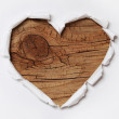 Wooden Heart. Paper Hole Ripped in Heart Shape with Old Wood — Stock Photo #39751835