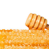 Honeycomb with Wooden Honey Dipper, isolated on white background — Stock Photo