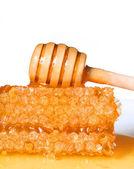 Honungskaka med trä honung skopa på vit bakgrund — Stockfoto