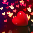 Valentine Red Heart over Bokeh in dark. Valentines Day Card — 图库照片 #40204667