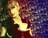 Retro kobieta z filiżanki kawy. portret moda piękny blond — Zdjęcie stockowe