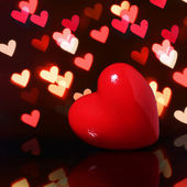 Valentine Red Heart over Bokeh in dark. Valentines Day Card — Foto Stock