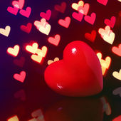 Valentine Red Heart over Bokeh in dark. Valentines Day Card — Stock Photo