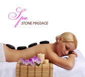 Spa Stone Massage. Beautiful Blonde Getting Hot Stones Massage — Stock Photo