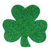 Glitter Shamrock Clover isolated on white. St. Patrick's Day. — Stock Photo