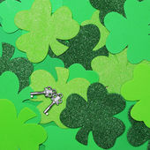 Shamrock Clover Background and Silver Keys. St. Patrick's Day. — Stock Photo