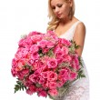 Blonde Girl with Huge Bouquet of Roses. Beautiful Young Woman — Stock Photo #40981425