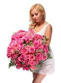 Blonde Girl with Huge Bouquet of Roses. Beautiful Young Woman — Stock Photo