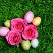 uovo di Pasqua colorate e rose rosa su erba verde — Foto Stock #41419041
