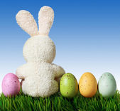 Coloridos huevos de pascua y el conejo en pasto con cielo azul — Foto de Stock