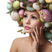 Easter Woman. Spring Girl with Fashion Hairstyle — Stock Photo